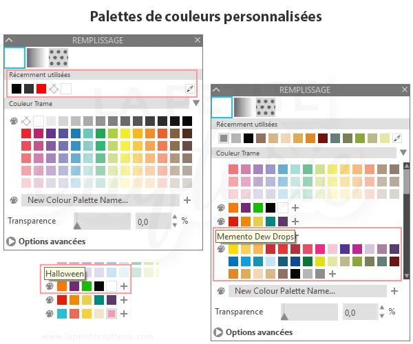 Silhouette Studio 4.3  - Palettes personnalisées
