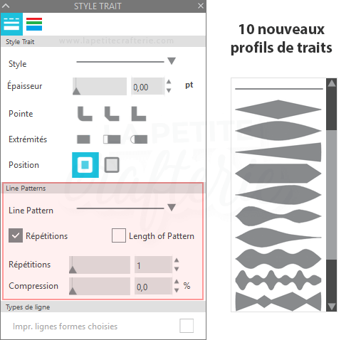 Silhouette Studio 4.3  - Profils de traits