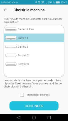 Silhouette Go - Sélection de la machine
