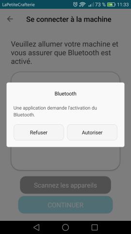 Silhouette Go - Activation du Bluetooth