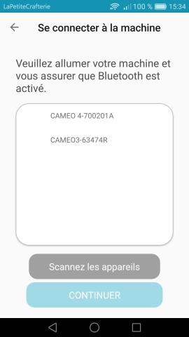 Silhouette Go - Choix de la machine Bluetooth