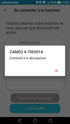 Silhouette Go - Connexion Bluetooth à la machine